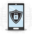 cyber security smartphone mobile shield protection vector image vector image