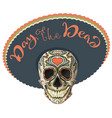 day of the dead painted skull in sombrero hat vector image vector image