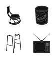 denture rocking chair walker old tvold age set vector image