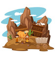 desert scene with kids and camel vector image vector image
