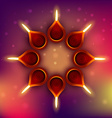 diwali diya on colorful background vector image