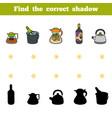 find correct shadow set kitchen utensils vector image vector image