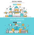 Flat design line concept Social Meia Digital M vector image vector image
