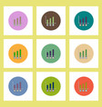 Flat icons set of column chart and currency