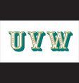 folk alphabet ornamental floral letter u v w vector image