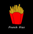 french fries on black background vector image
