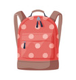 front view red dotted backpack with front vector image vector image