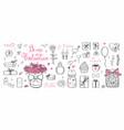 happy valentines day doodle set vector image vector image