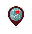 lettering i love you pin map icon vector image
