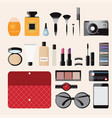 makeup cosmetics bag with accessories vector image vector image
