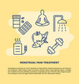 menstruation pain treatment concept banner in line vector image