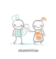 obstetrician with the patient and the child vector image