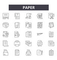 paper line icons signs set linear vector image