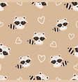 pattern with raccoon vector image vector image