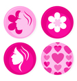 pink female badges vector image vector image