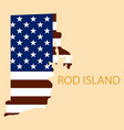 rod islands state of america with map flag print vector image vector image