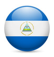 Round glossy icon of nicaragua vector image vector image