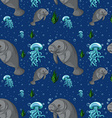 Seamless background with manatee underwater vector image vector image