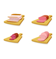 Set meat products on the cutting board vector image