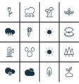 set of 16 ecology icons includes cold climate vector image vector image