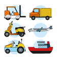 set of delivery vehicles vector image