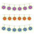 set of flat colored isolated garlands of flowers vector image