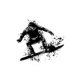 silhouette of a snowboarder jumping vector image vector image