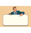 Smiling businessmen presenting empty board vector image vector image