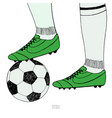 soccer ball under player feet on white background vector image