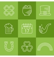 St Patricks day linear icons set vector image