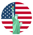 statue liberty national monument with american vector image vector image