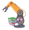 student with book industrial robotic hand in the vector image