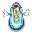 surprised cartoon sneaker with rubber toe vector image