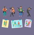 team of photographers with professional equipment vector image