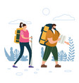 tourists cute couple with map and backpacks vector image