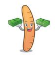 with money bag baguette mascot cartoon style vector image