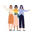 women friends group portrait happy young girls vector image vector image
