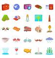 world trip icons set cartoon style vector image