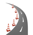 A Line of Warning Traffic Cones on Road vector image vector image