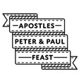 apostles peter paul feast greeting emblem vector image