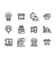 areas of city black line icons set vector image