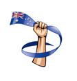 australia flag and hand on white background