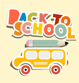 Back to School Title with Yellow Bus vector image