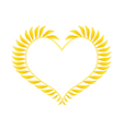 Beautiful Yellow Leaves in A Heart Shape vector image vector image