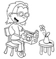 black and white little girl reading vector image vector image