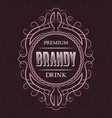 brandy premium drink label design template vector image vector image