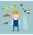 Builder or engineer with tools and equipment vector image vector image
