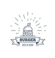 burgers badge design line art vector image vector image