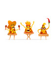 cartoon spicy pizza characters slices vector image