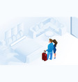 couple woman man arriving with luggage in room vector image vector image